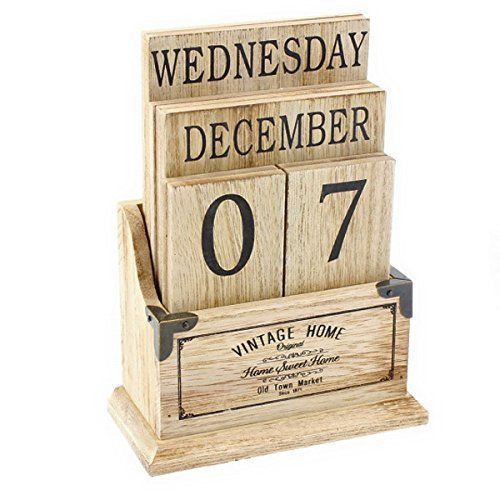 Calendar Wood Blocks : Vintage wooden perpetual calendar desk top eternal