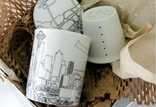 Skyline tea mug set (5 cities to choose from), personalized with a name or message, $26
