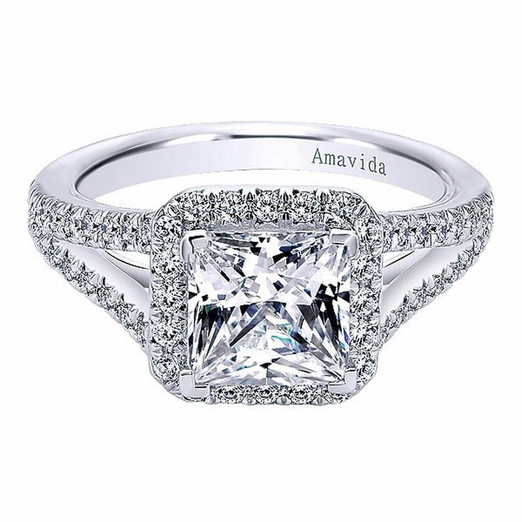 princess cut halo engagement ring with split shank by gabriel co er6322w83jj