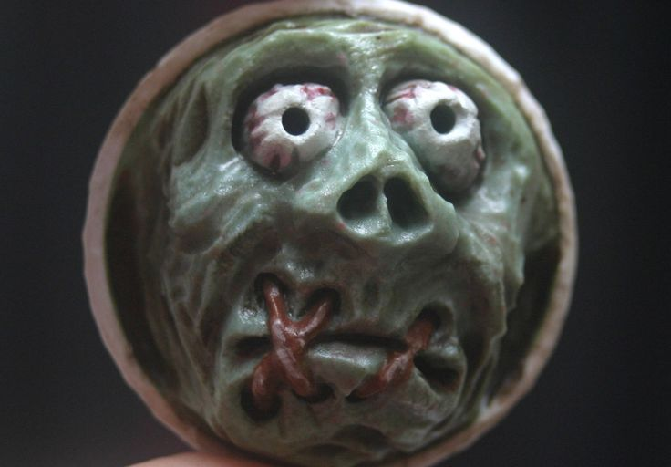 Carved Golf Ball Sport Art Lowbrow Kustom Kulture Weirdo Shrunken Head Nike Monster Key Chain Horror Macabre Key Chain Ornament Talisman by TJKleens on Etsy