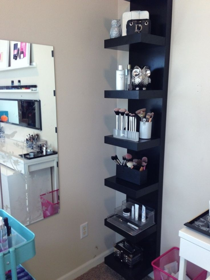 interesting idea for make up storage using an ikea shelving unit make up pinterest. Black Bedroom Furniture Sets. Home Design Ideas