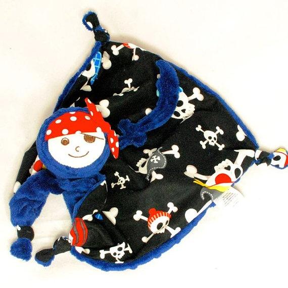 Blue Pirate Security Blanket Lovey Blanket Baby by Koddalie on Etsy, $22.00