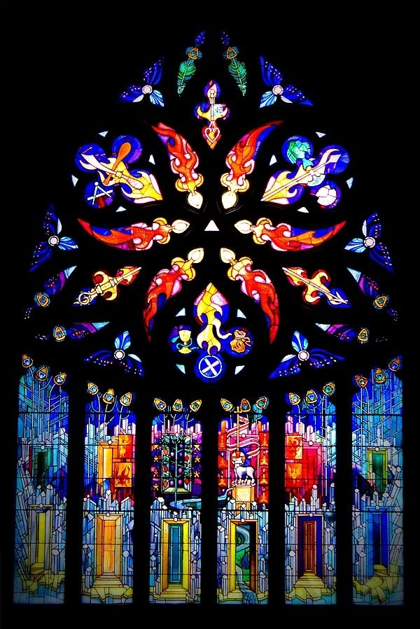 Crear McCartney stained glass window installed in 1992 into St Michael's Parish Church, Linlithgow, Scotland