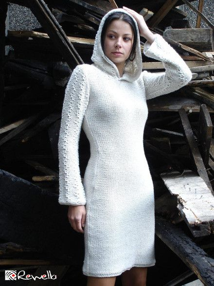 Knitted hand made dress with hood