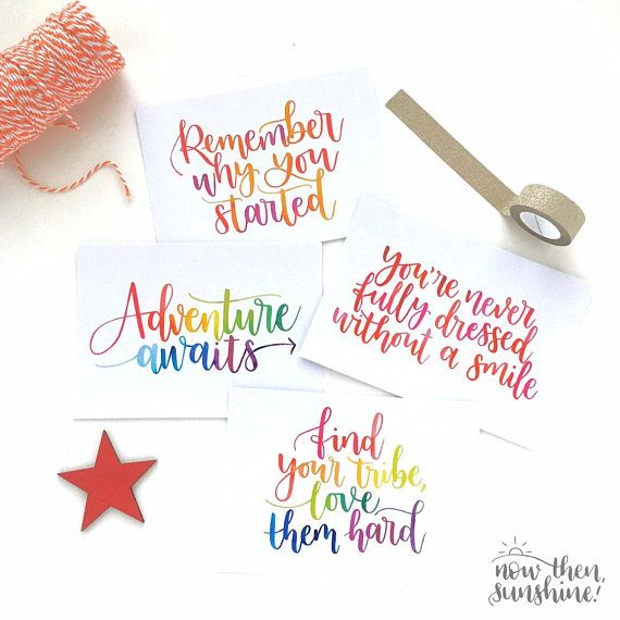A pack of four A6 inspirational postcards, ideal for a stocking filler, a motivational gift for yourself, or to send to a friend as happy mail. Also great for putting on the wall to motivate your day! The postcards include the following quotes: 1 x Find your tribe, love them hard 1 x