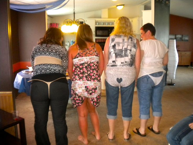 Lingerie shower game!  Then guest were put into groups to create, design and model lingerie for the bride to be on her wedding night out of a pair of scissors and a pair of granny panties! They all got very creative! :) So much fun and a great ice breaker!