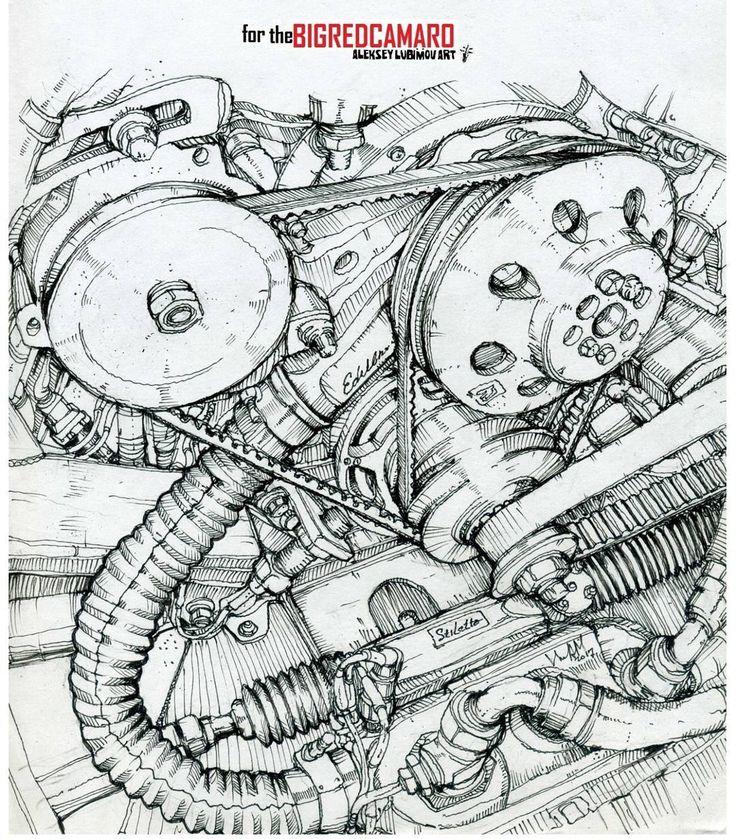 A sketch for my friends from #thebigredcamaro I wish them many more victories!!! /Author Aleksey Lubimov. #алексейлюбимовбиоме.ханика #алексейлюбимов #стимпанк #дизельпанк #биомеханика #marchofrobots #steampunk #dieselpunk #alekseylubimov_art #biomechanical #lineart #engine #camaro