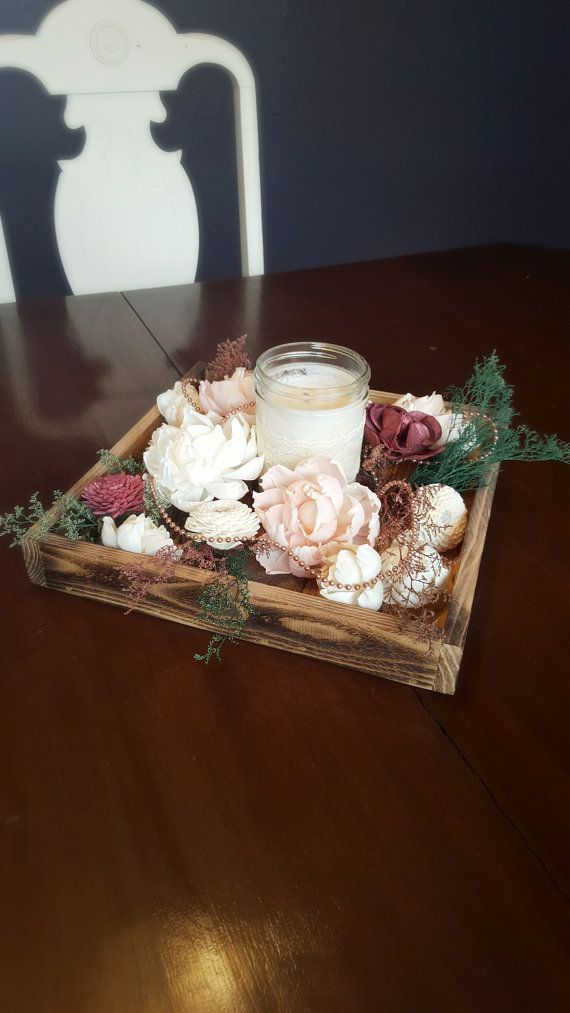 Wedding centerpiece wood tray candle sola flowers pearls