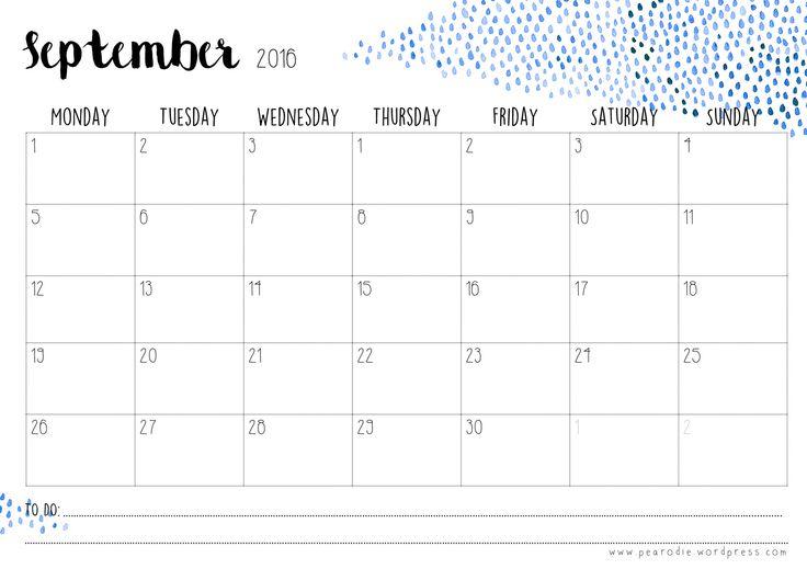 Kalender 2016 'Watercolour' Freebie | Pearodie.