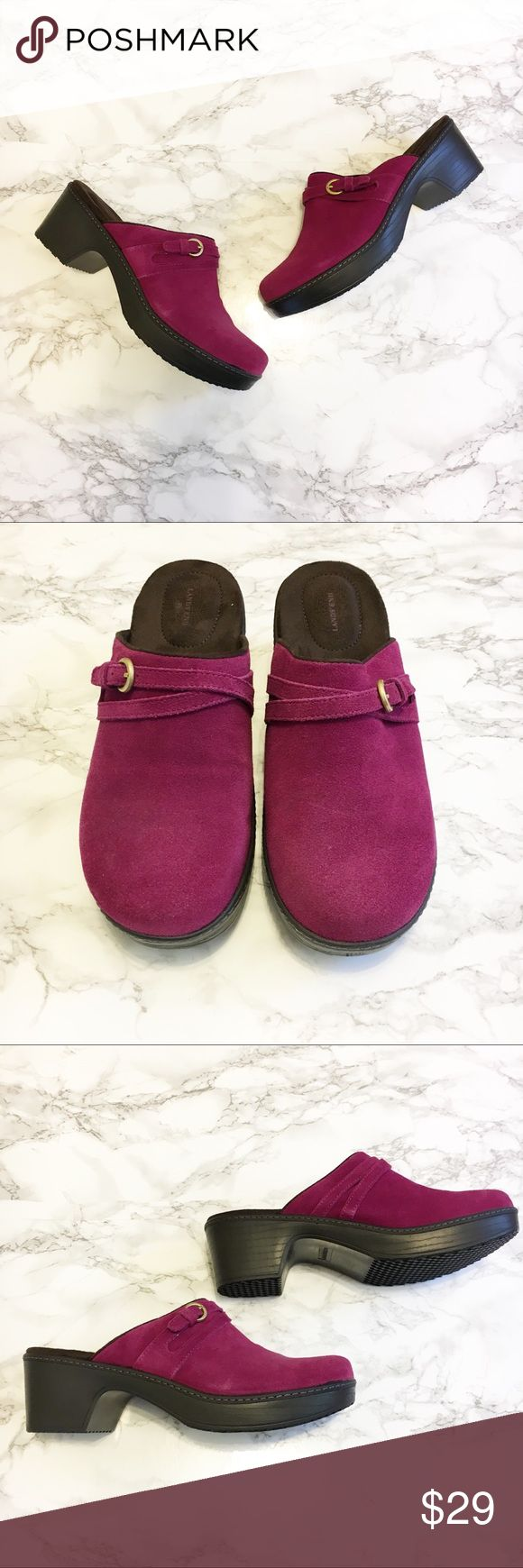 Land's End Carly Clog Mule Shoes Land's End Carly Clog Mules in Raspberry  Slip on Genuine suede Gold buckle Cushioned insole  • NWOT • Size: Women's 8 (8B) • Measurements: Land's End Shoes Mules & Clogs