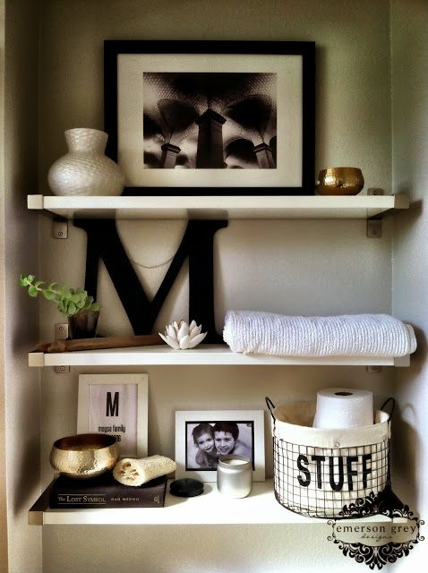 Best ideas about bathroom shelf decor on pinterest half bath decor