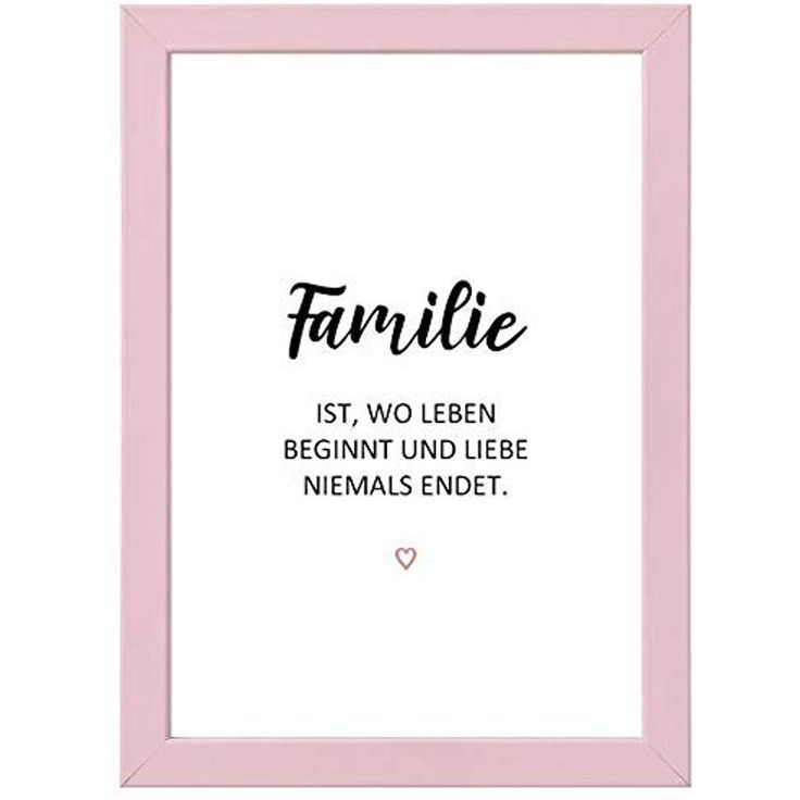 Picture Love – Bild Familie Fotodruck mit Spruch in rosa Bilderrahmen – Geschenk…
