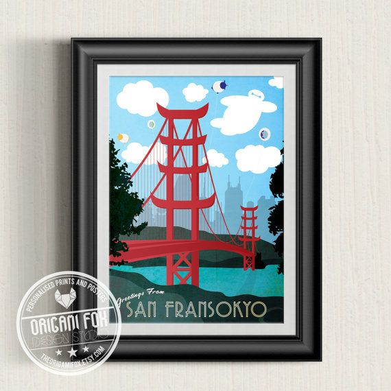 San Fransokyo Poster - Big Hero 6 - Baymax - Retro City Print