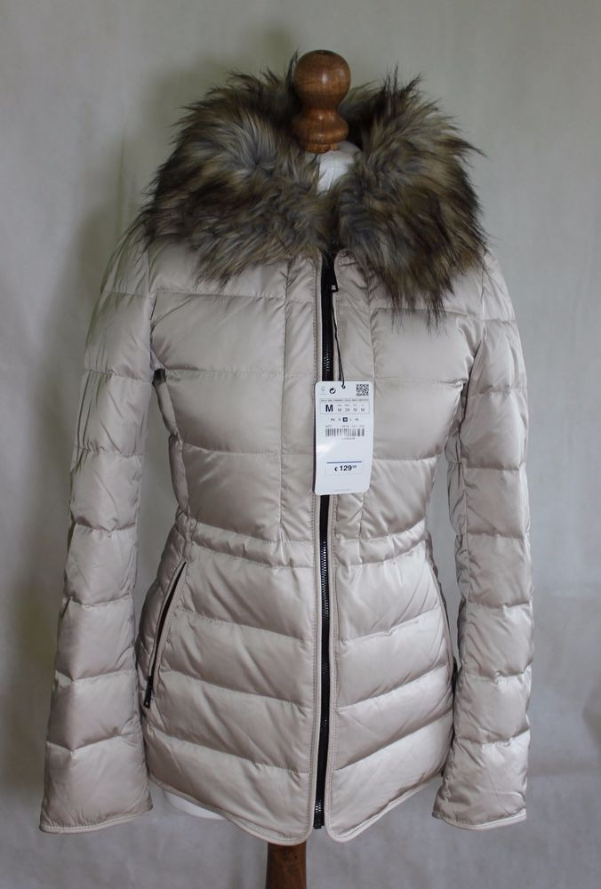 ZARA BNWT RRP 130 € woman winter jacket coat quilted beige puffa size M #Zara #QuiltedCoats