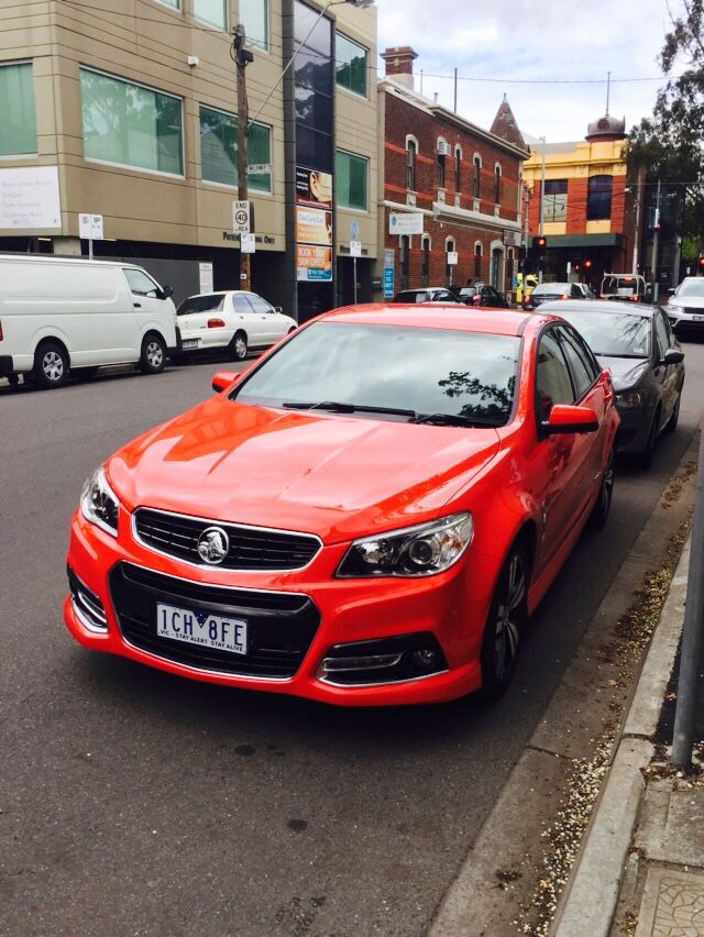 VF Commodore in red hot. Wt