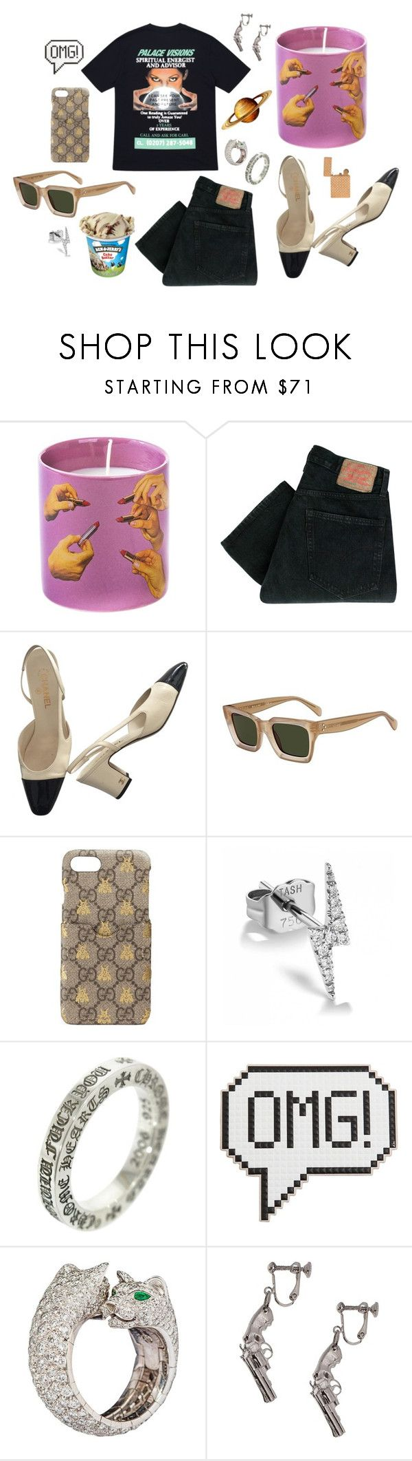 """u aint got no alibi"" by lusciousbrat ❤ liked on Polyvore featuring Seletti, Levi's, Chanel, CÉLINE, Gucci, Maria Tash, Chrome Hearts, Anya Hindmarch, Cartier and Yves Saint Laurent"