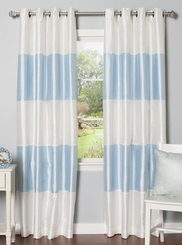Striped Faux Silk Blackout Curtain Panels