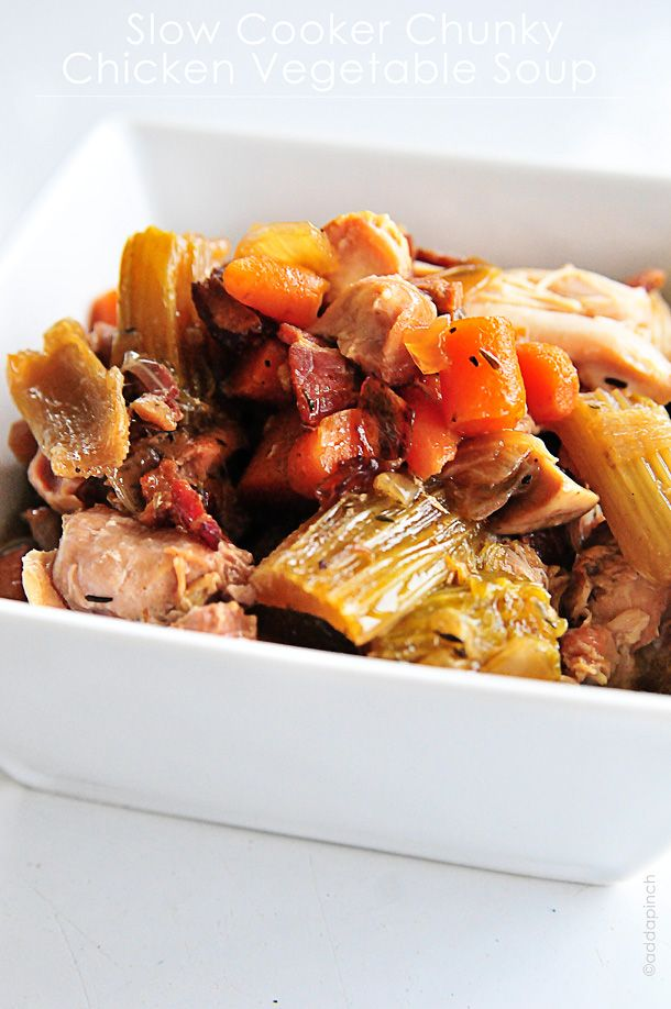 Slow Cooker Chicken Chunky Vegetable Soup is great for a comforting, versatile dish you'll make time and time again.