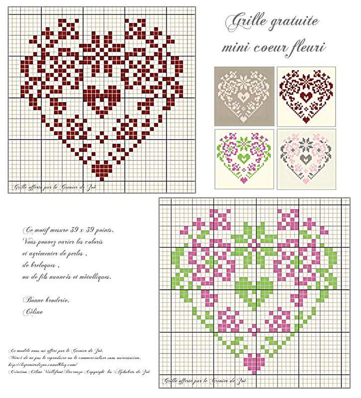 Free mini grid floral heart