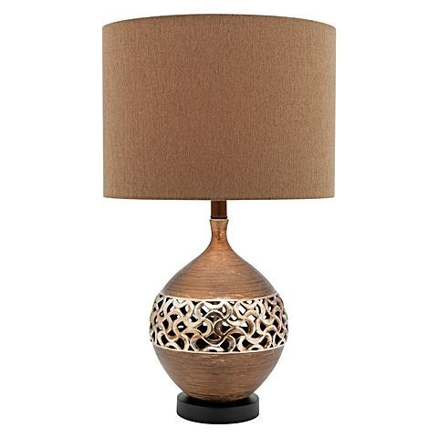 Exude an exotic hue of antique golden metallics in your home with the striking Sahara Table Lamp from Cougar Lighting.