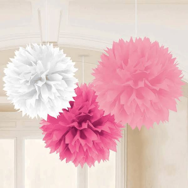 Add an oversized powder puff design to your baby shower decorations for a girl.  Sure to add a fanciful floral feel to your baby shower party room, the Baby Girl Fluffy Baby Shower Decorations come in