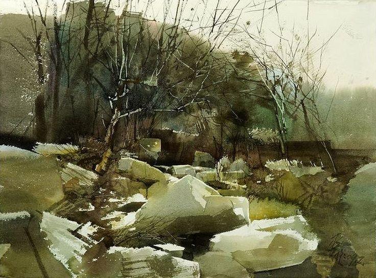 平龙 / Ping Long (b. 1964, China) Spring. sketch. watercolor.