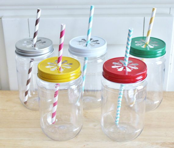 Plastic Mason Jars with daisy lids your choice of color and emailed PDF Jar Tags ( see pictures)   $16.50 for 10 - lids but no straws