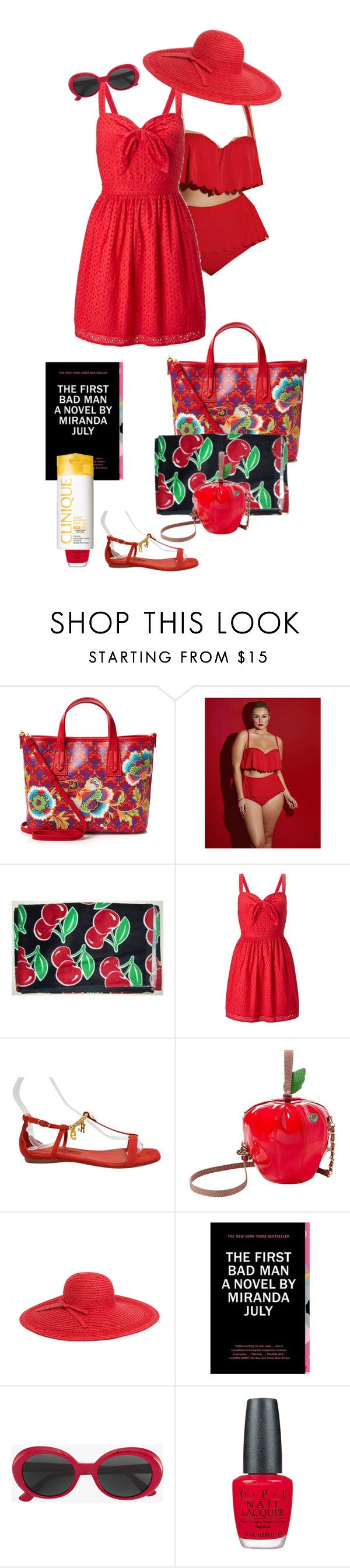 """red beach dress (Aoife)"" by shulabond on Polyvore featuring Liberty, Lela Rose, Miss Selfridge, Carolina Herrera, Betsey Johnson, Magid, Yves Saint Laurent, OPI, Clinique and plus size clothing"