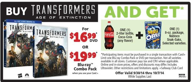 Safeway Transformers DVD Deal- Great Freebies with Purchase!