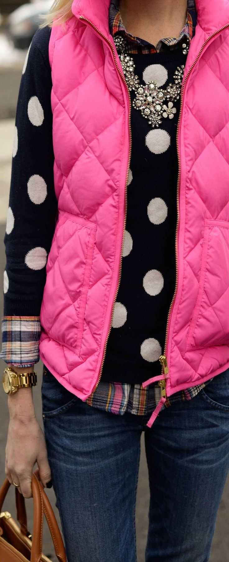 love everything about this! plaid layer, polka dot, pink vest!