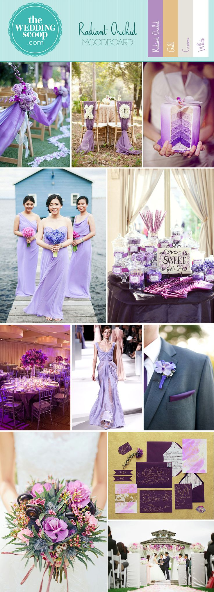 Radiant Orchid Inspiration Board | We've become absolutely smitten with the Pantone color of the year here at The Wedding Scoop. In today's featured inspiration board, we take a look at the naturally decadent Radiant Orchid at its best - paired with neutral hues and generous helpings of gold for the most opulent of weddings. #radiantorchid #purple #wedding