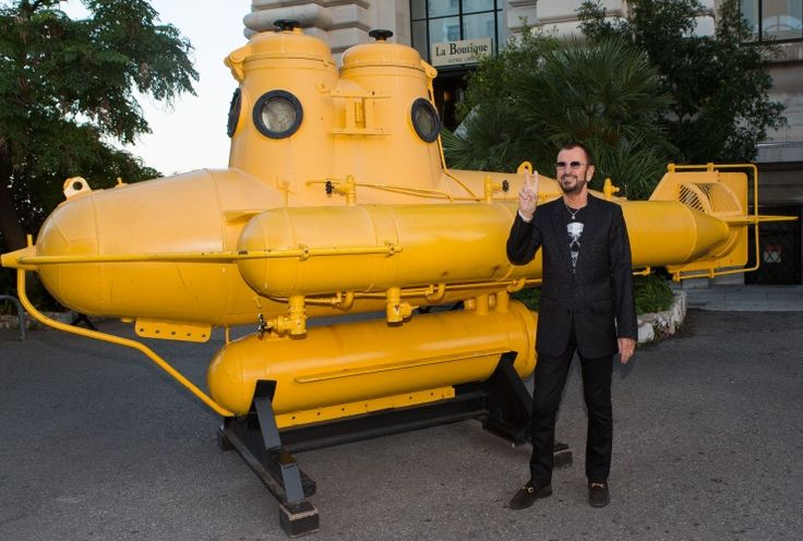 Yellow submarine commander in peace. Ringo Starr is appointed Commander of France's Order of Arts and Letters at the Oceanographic Museum of Monaco on Sept. 26�: Photos, Yellow Submarines, Ringo Starr, Mellow Yellow, Boys Th Beatles, Submarines Command, Oceanograph Museums, Rocks, Yellow Therapy