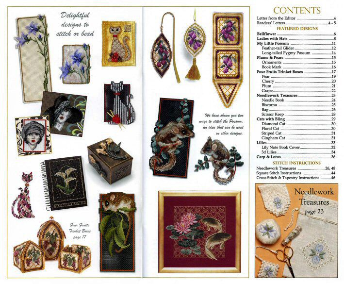 Jill Oxton's Cross Stitch & Bead Weaving issue 79 contents page. Issue 79 is available from Australian Needle Arts