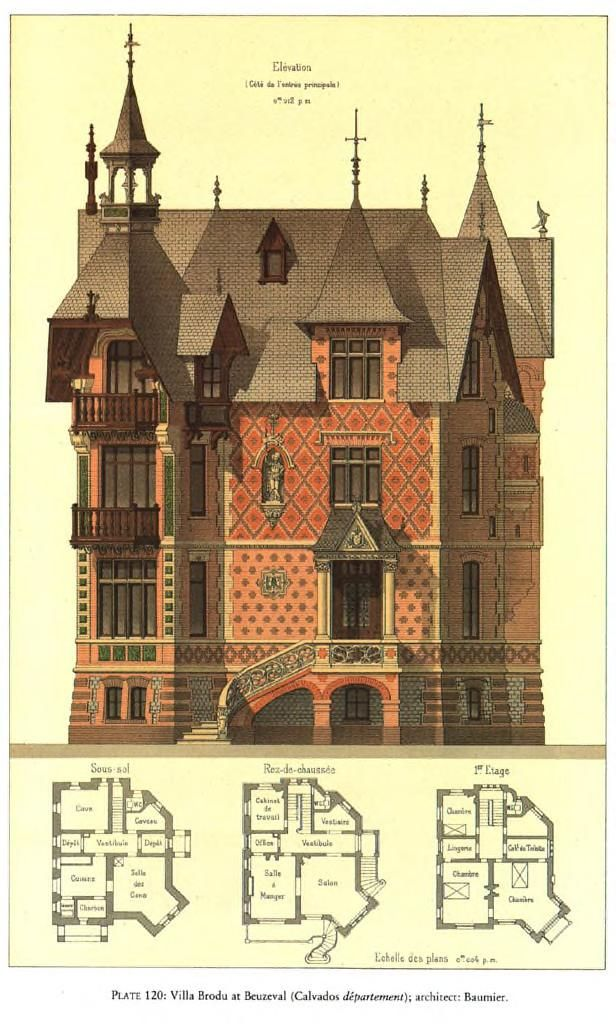 Details of Victorian Architecture. (POST 4) - Villa Brodu at Beuzeval (Calvados departement); architecy: Baumier