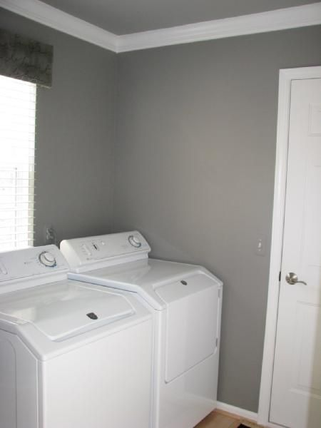 Benjamin moore galvestone gray i want to paint my laundry for Best white paint for grow room