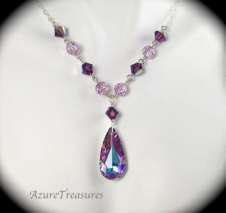 Swarovski Purple Crystal Necklace, Teardrop Pendant, Vitrail Light & Amethyst Sterling Silver Bridesmaids, Bridal Wedding Jewelry