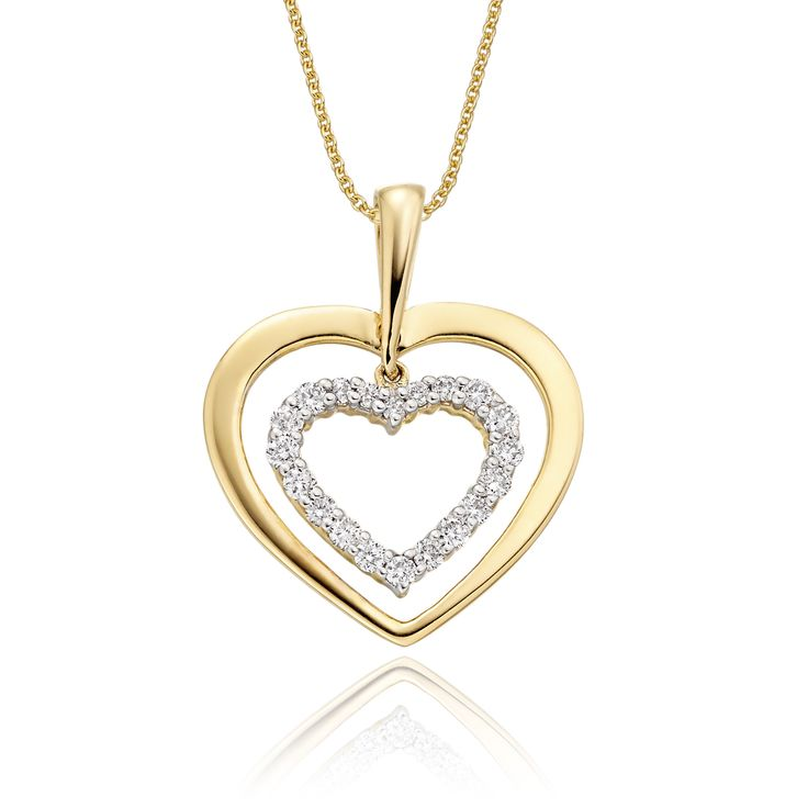 This elegant yellow gold diamond pendant has 0.23ct diamonds. The pendant features two carved hearts one beautifully polished and the other encrusted with round brilliant cut diamonds. This necklace is made in 9K yellow gold and is available complete with a beautiful mirror trace chain or if you already have a chain then you have the option to buy just the pendant.