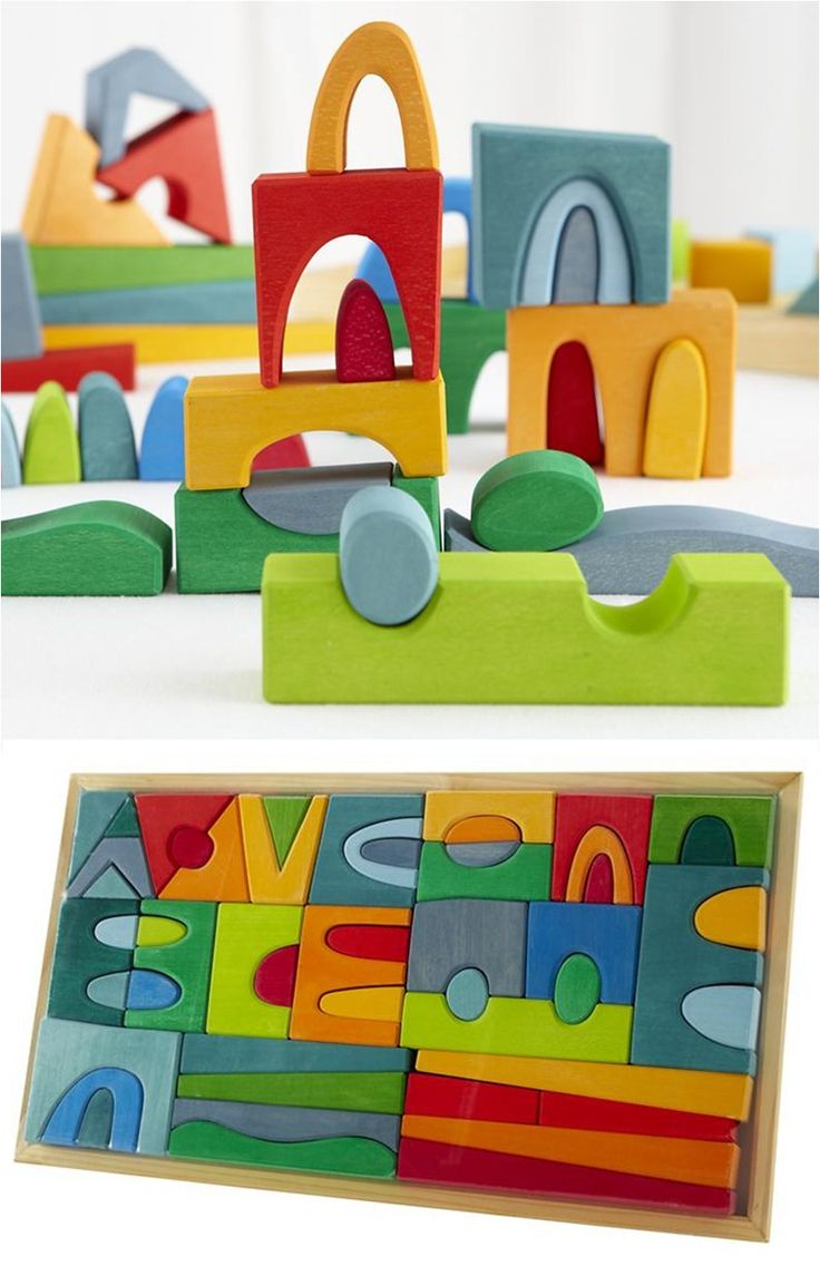It Makes a Village Block Set: Colorful wooden blocks dyed in water-based inks & hand-sanded. Waldorf education inspired. Simulates open ended play. Can be used as blocks or puzzle / Land of Nod