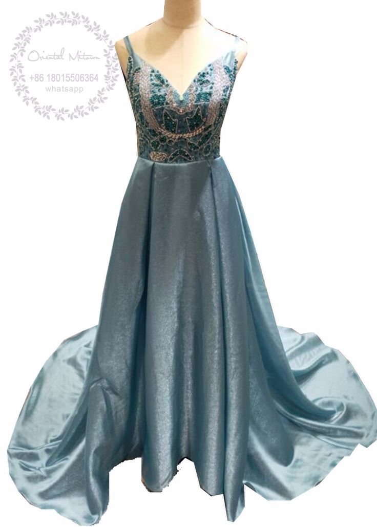 Sexy Deep V-Neck Backless Beaded Crystal Prom Dresses 2017 Robe Bleu Turquoise Vestidos Gala Spaghetti-Strap A-line Evening Gown