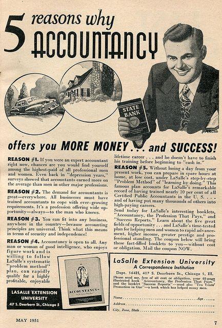Accountancy LaSalle University Advertising Popular Mechanics May 1951