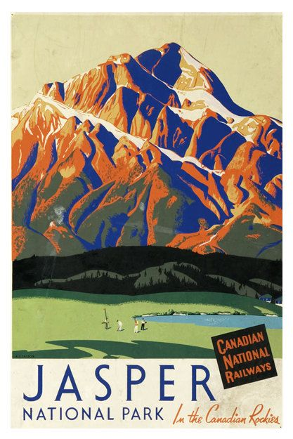 Jasper National Park, Canadian National Railways - Vintage Travel Poster - Poster Paper, Sticker or Canvas Print For Bulk Orders (minimum order 30