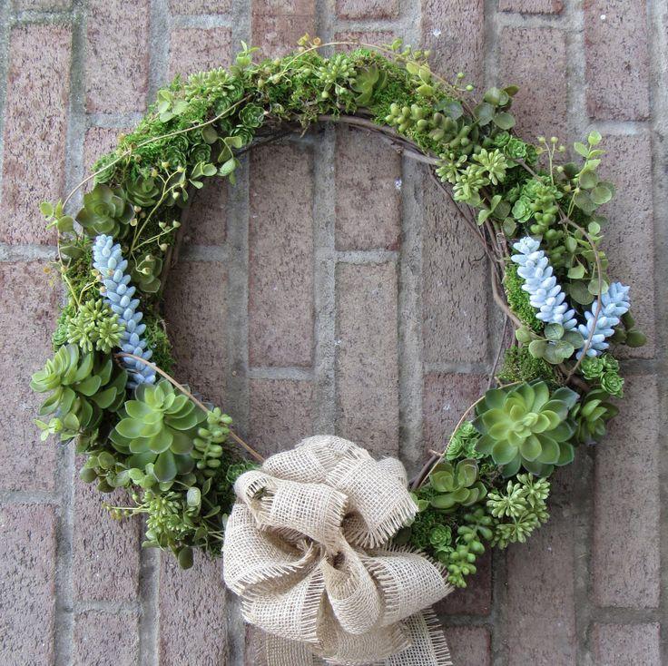 Faux Succulent Wreath - Succulent Wreath - Succulents - Artificial Succulent Wreath - Farmhouse Wreath - All Season Wreath - Summer Wreath by TheTinWhistleStudio on Etsy