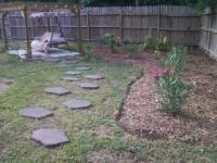 Oldcastle pavers (from Lowe's) set in lawn