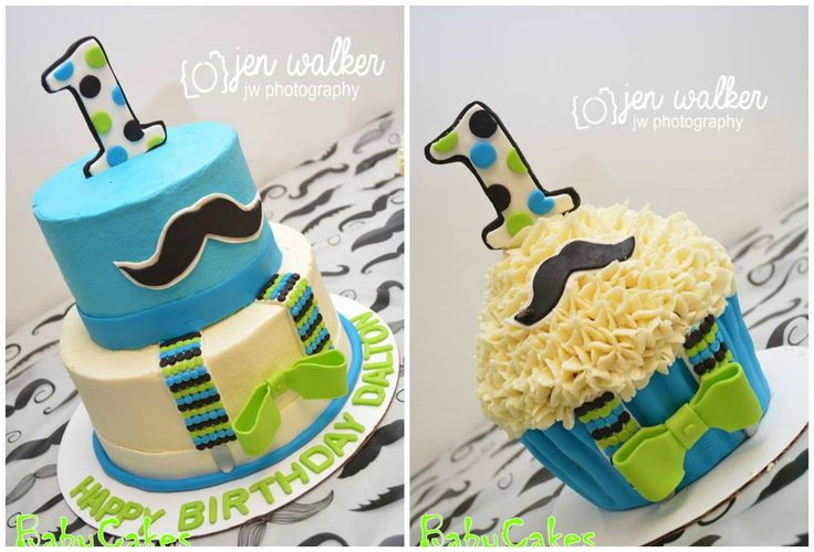 "Little Man with Mustache and Bow for 1st birthday with a 10"" tall cupcake coordinating smash cake."