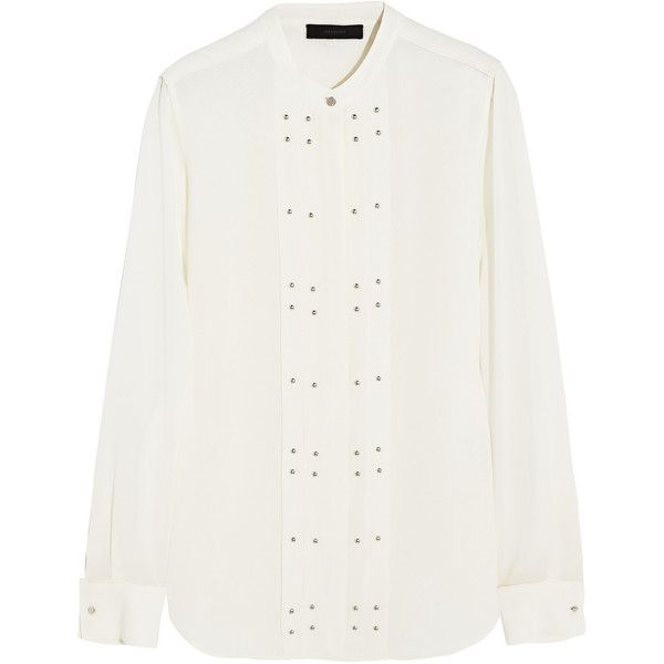 Belstaff Darcy studded silk-georgette blouse ($310) ❤ liked on Polyvore featuring tops, blouses, ivory, loose tops, loose blouse, studded top, loose fit tops and ivory top