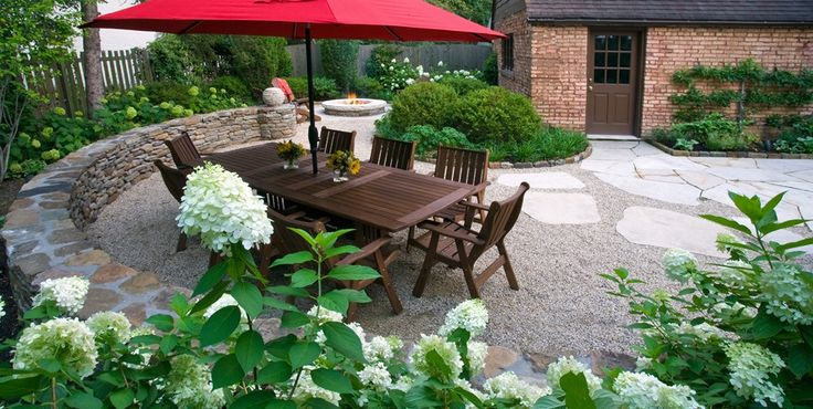Wood Table Red Umbrella Mariani Landscape Lake Bluff, IL