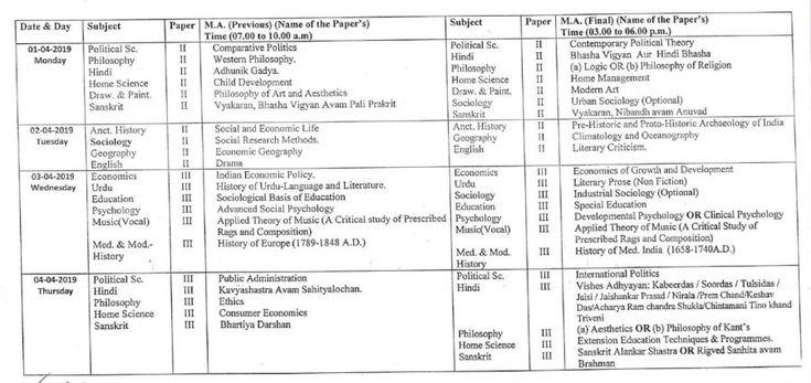 Dr. Ram Manohar Lohia Avadh University M.A. Exam Time