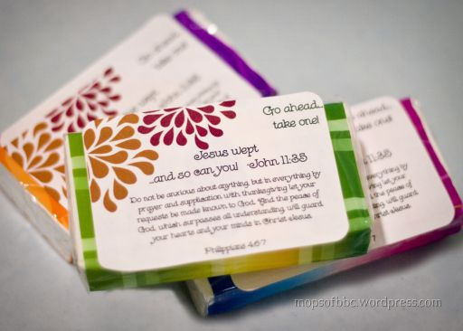 """Meeting Favor Idea:  For this MOPS group meeting about emotions they used mini tissue packs and put """"Jesus wept...and so can you!  with John 11:35"""