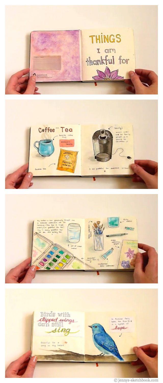 Jenny's Sketchbook: Flip-Through (Gratitude Journal Pages) / art journal inspiration