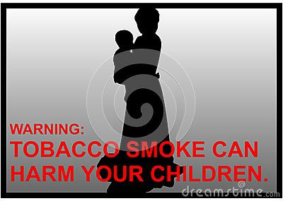 Vector anti-smoking warnings image of a mother who holds the baby in her hands.